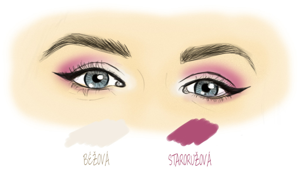 Béžový a ružový očný tieň