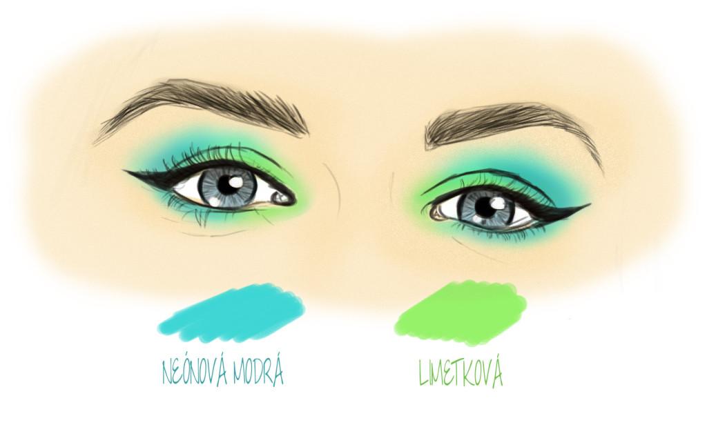 Modrý a limetkový očný tieň
