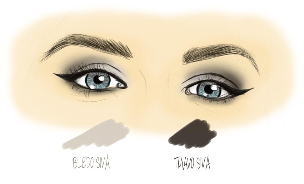 bledý a tmavý sivý očný tieň